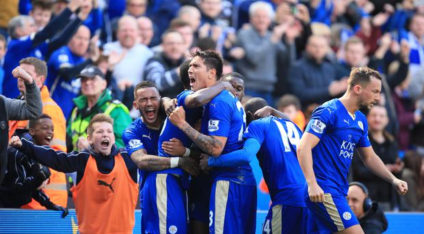 Leicester celebrate during their 2-2 draw with West Ham in April, which took them closer to a stunning title victory