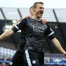 Defender Robert Huth celebrates his second goal in Leicester's 3-1 win at Manchester City in February