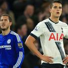 Eden Hazard, left, scored the equaliser for Chelsea against Tottenham