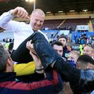 Sean Dyche, top, is willing to spend to keep Burnley in the Barclays Premier League