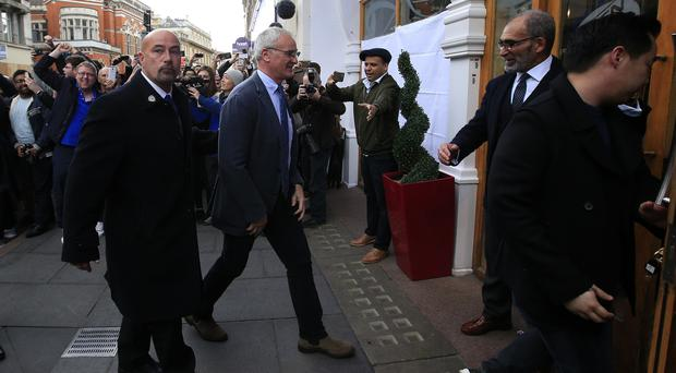 Leicester manager Claudio Ranieri arrives at San Carlo Pizzeria in the city as he celebrates their title win
