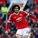 Manchester United's Marouane Fellaini, pictured, and Leicester City's Robert Huth were given a three-game suspension each
