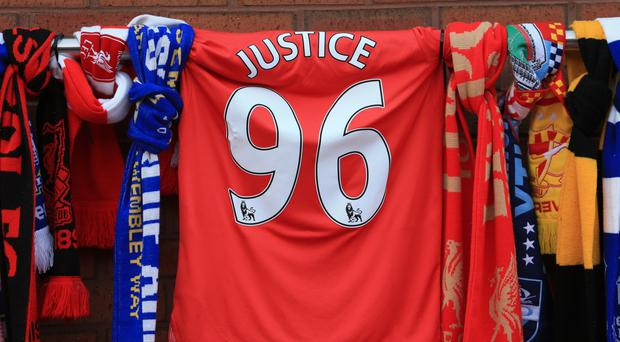 The memorial for the 96 victims of the Hillsborough disaster outside Anfield tonight