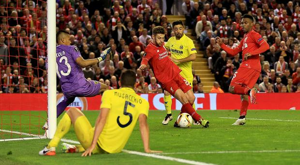 Adam Lallana turned home Liverpool's third against Villarreal