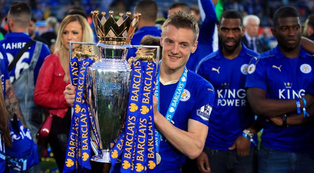 Leicester striker Jamie Vardy took his goal tally to 24 with a brace against Everton