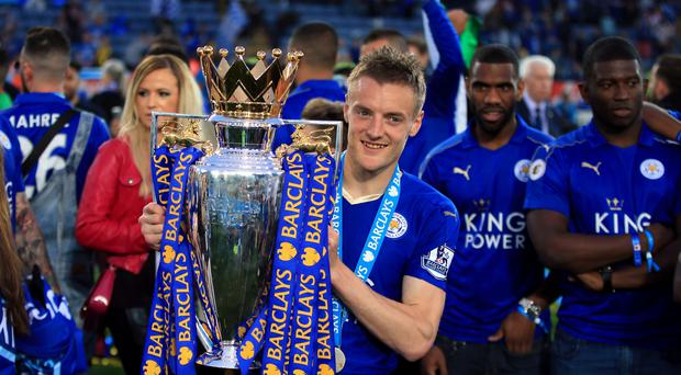 Leicester's Jamie Vardy lifted the Barclays Premier League trophy on Saturday.