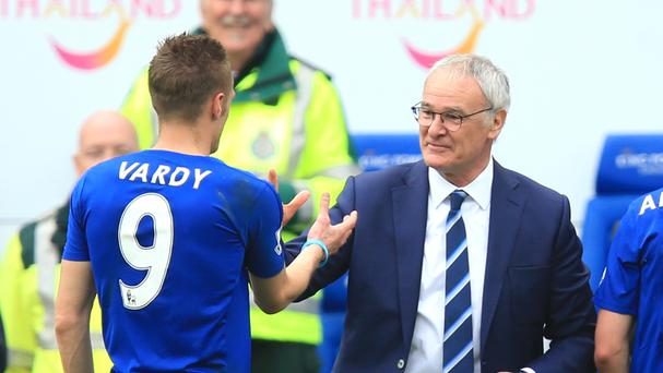 Jamie Vardy, left, believes Claudio Ranieri's decision to give his Leicester players a week off in February was key to their Premier League title triumph
