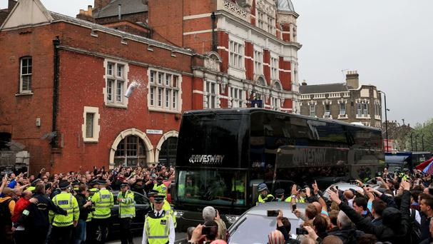 The Manchester United team coach was attacked on arrival at Upton Park
