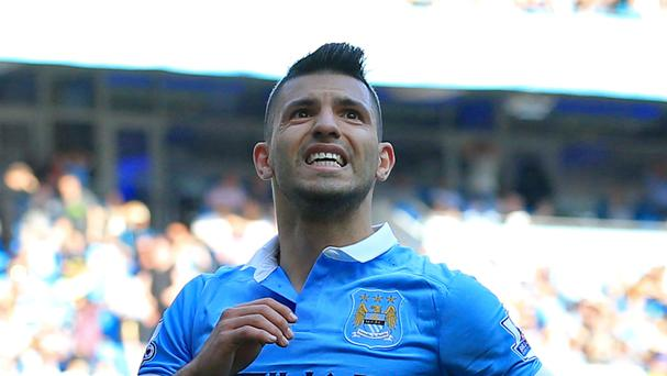 Manchester City and Sergio Aguero will hope to hold off the challenge of Manchester United for fourth place
