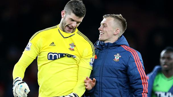 Southampton goalkeeper Fraser Forster, left, and James Ward-Prowse, right, have signed new long-term deals