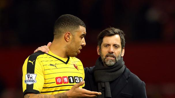 Watford captain Troy Deeney, left, defended sacked manager Quique Sanchez Flores', right, record