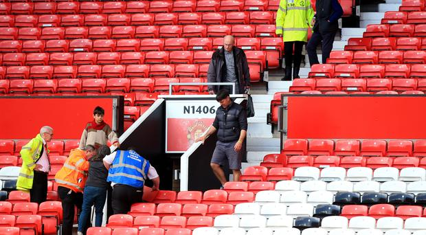 Juan Mata and his Manchester United team-mates were on the pitch when the Old Trafford evacuation began