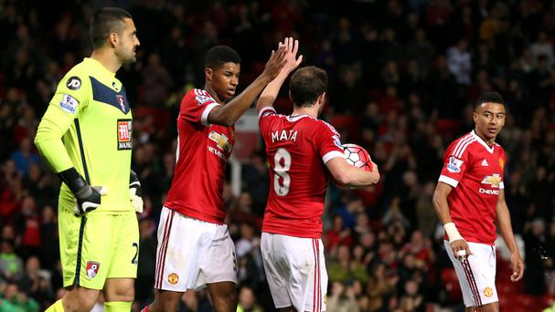 Marcus Rashford, second left, celebrates his goal against Bournemouth