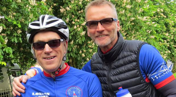 Crystal Palace captain Geoff Thomas, right, and professor Charlie Craddock ahead of the London to Paris cycle in aid of Cure Leukaemia