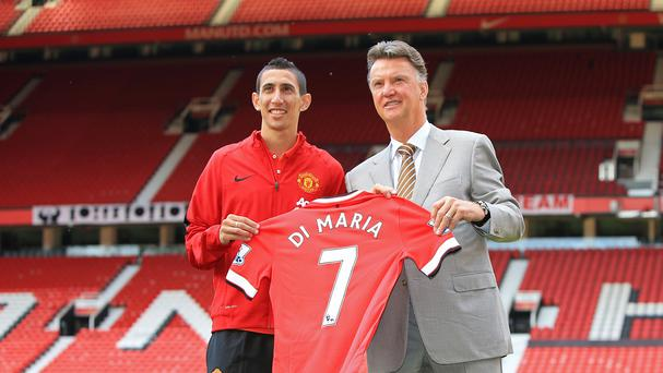 Selling Angel di Maria, left, to PSG may have proven a mistake for Manchester United manager Louis van Gaal, right