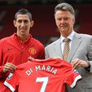 Louis van Gaal, right, with Angel di Maria