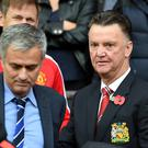 Both Louis van Gaal (right) and Jose Mourinho (left) have had criticism over their teams' style of play.