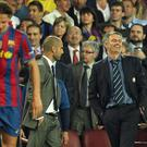 Pep Guardiola, centre, and Jose Mourinho, right, are set to clash in Manchester