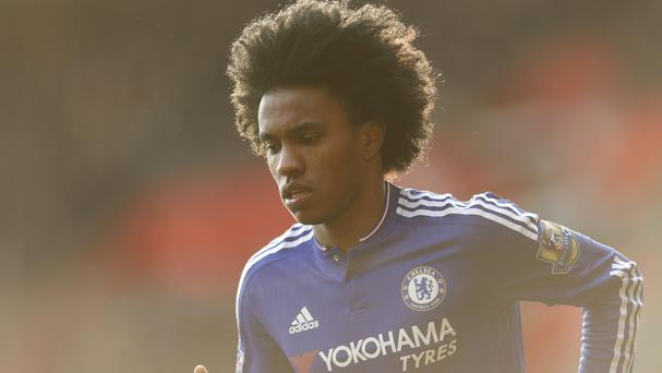 Jose Mourinho is keen to reunite with Willian, pictured, at Manchester United