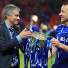John Terry, right, will come up against Jose Mourinho when Chelsea take on Manchester United