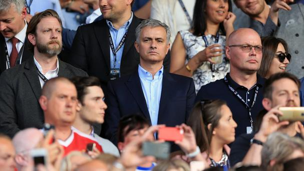 Jose Mourinho, centre, in the stands during Soccer Aid