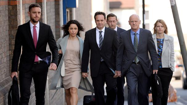 Former Chelsea team doctor Eva Carneiro, second left, at Croydon Employment Tribunal
