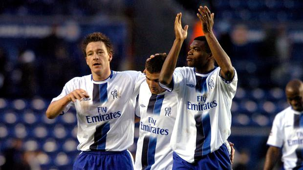 John Terry, left, and Marcel Desailly, right, played in defence together for Chelsea