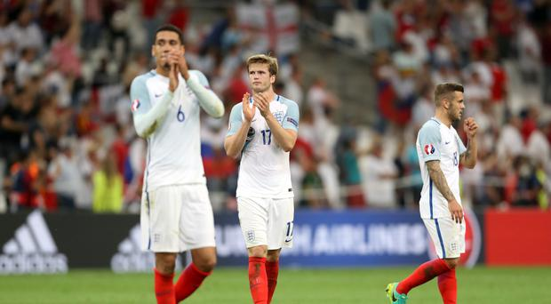 England's Chris Smalling, Eric Dier and Jack Wilshere (left to right) were left dejected after the final whistle