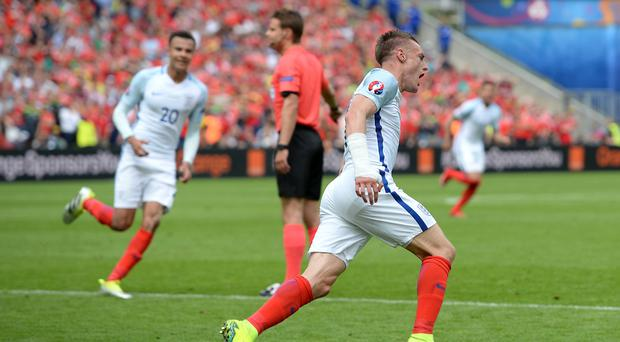 Jamie Vardy celebrated his fourth England goal in the 2-1 victory over Wales at Euro 2016 in Lens