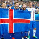 Gylfi Sigurdsson, second from right, has helped Iceland into the last 16