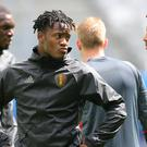 Belgium's Michy Batshuayi, left, has hinted at a possible move to Chelsea