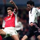 Ryan Giggs scores against Arsenal to settle a famous FA Cup semi-final replay in 1999