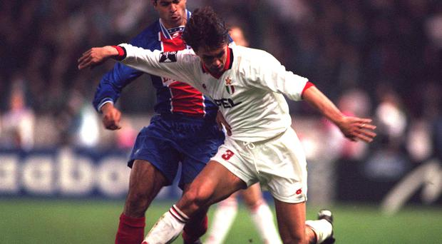 Paolo Maldini (in white) was a loyal servant to AC Milan for over 30 years