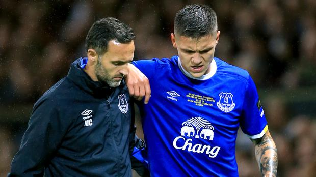 Everton midfielder Muhamed Besic has been ruled out for six months with a knee injury
