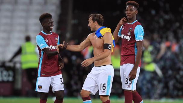 West Ham skipper Mark Noble, centre, has yet to represent England at senior level