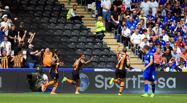 Adama Diomande, left, and Abel Hernandez, second left, celebrate after Hull's opener