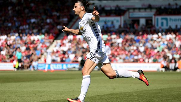 Zlatan Ibrahimovic marked his Premier League debut with a goal