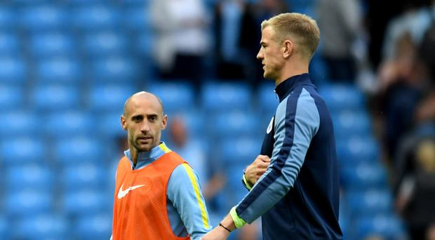 Joe Hart, right, is out of favour at Manchester City