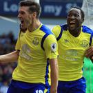 Gareth Barry, left, celebrates his goal at West Brom on Saturday