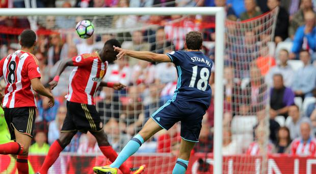 Middlesbrough's Christian Stuani (right) thunders in Middlesbrough's opener.