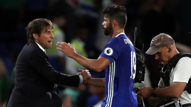 Chelsea boss Antonio Conte, pictured left, has seen Diego Costa, right, score the winner in two Premier League games