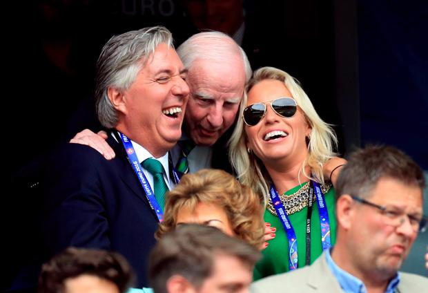 With IOC President Pat Hickey and girlfriend Emma English at the Sweden game in Paris during Euro 2016