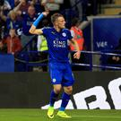Jamie Vardy, right, got off the mark as Leicester earned their first win of the season