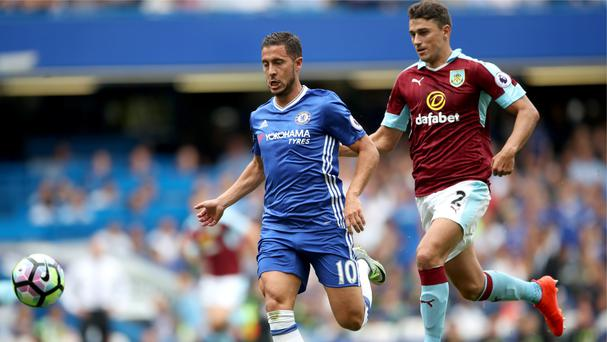 Eden Hazard, left, starred for Chelsea in their 3-0 win over Burnley