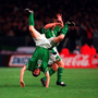 The familiar flip – 'This is one of my proudest pictures of the many celebration shots. It was Robbie's debut goal against Malta in 1998 and it won me a PPAI prize. You could say we both hit the back of the net.' Pics: Sportsfile
