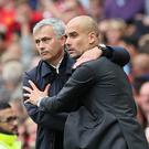 Pep Guardiola (right) and Jose Mourinho