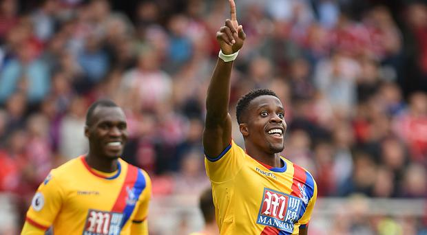 Crystal Palace forward Wilfried Zaha celebrates the winner at Middlesbrough