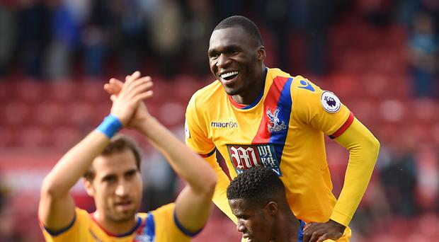 Crystal Palace players celebrate the winner at Middlesbrough