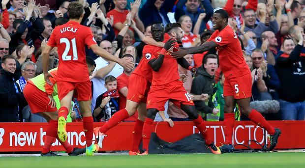 Liverpool's Sadio Mane (centre) celebrates scoring his side's second goal