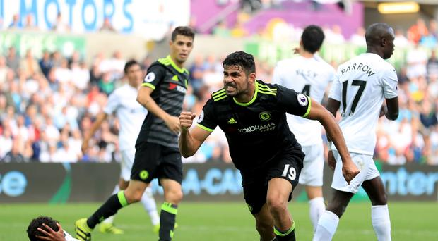 Chelsea's Diego Costa netted a brace at Swansea